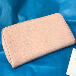 Rose blush faux leather wallet clutch NEW